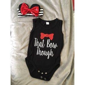 Other - Minnie Baby Bow Onesie Set W/Headband 6-12M